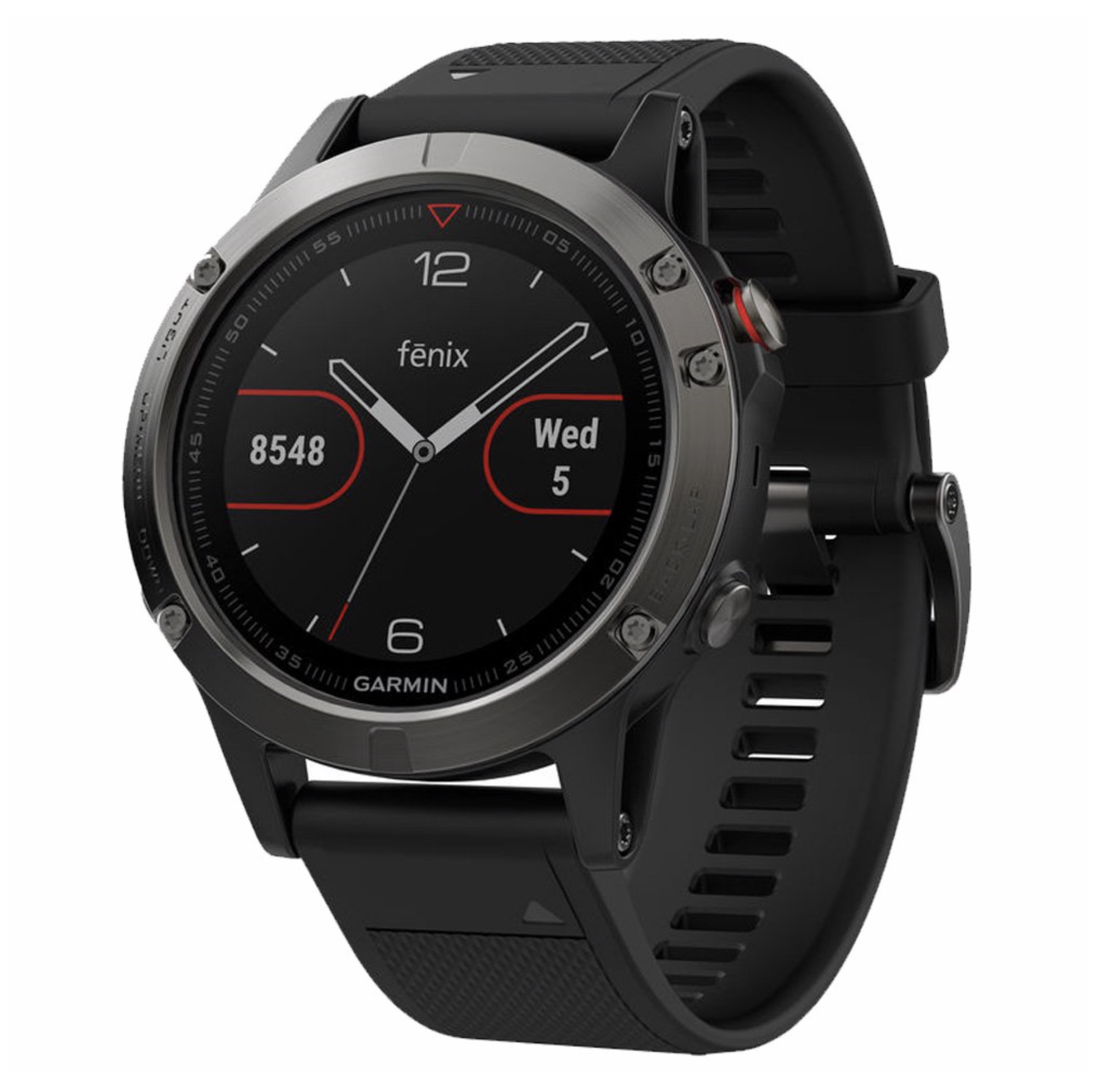 Garmin Fenix 5 GPS & HR  - Omni-directional stainless steel EXO™ antenna, with GPS/GLONASS satellite reception, has the ability to track in more challenging environments than GPS alone. Elevate™ wrist heart rate technology¹ measures heart rate at the wrist. Fitness training features like advanced running dynamics with vertical oscillation and vertical ratio, VO2 max, recovery advisor and more. 1.2-inch sunlight-readable Garmin Chroma Display™ with high-strength domed sapphire lens. Outdoor navigation features like 3-axis compass, altimeter and barometer and TracBack® feature.