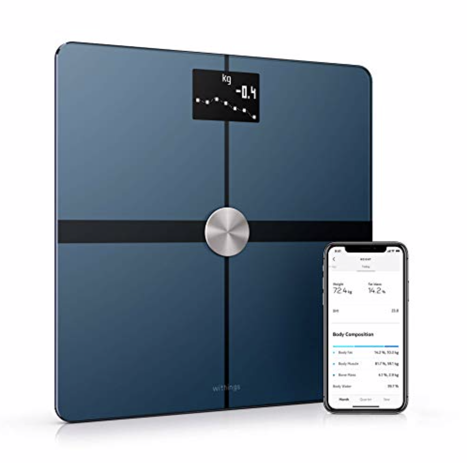 Withings Body+ Scale  - tracks weight, body composition (body fat, water %, muscle & bone mass), BMI and standing heart rate. All data syncs to their app as well as Training Peaks.