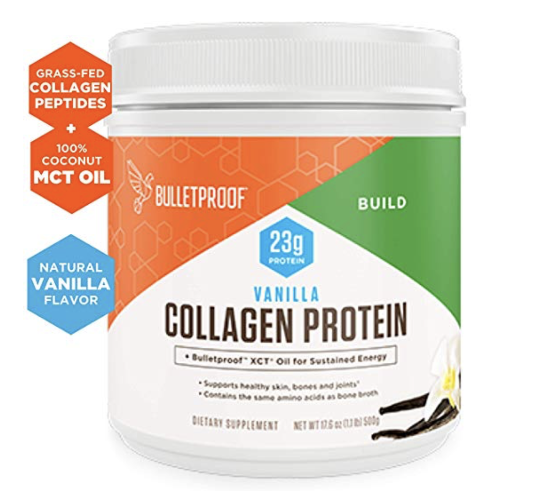 Bulletproof Collagen Protein  - Collagen is the largest and most abundant protein in the body, making up about 30-25% of the total protein. Collagen is in every tissue of the body and is the connective tissue in structures such as skin, hair, nails, bones, lungs, heart and liver. It is ofter referred to as the glue that holds the body together.