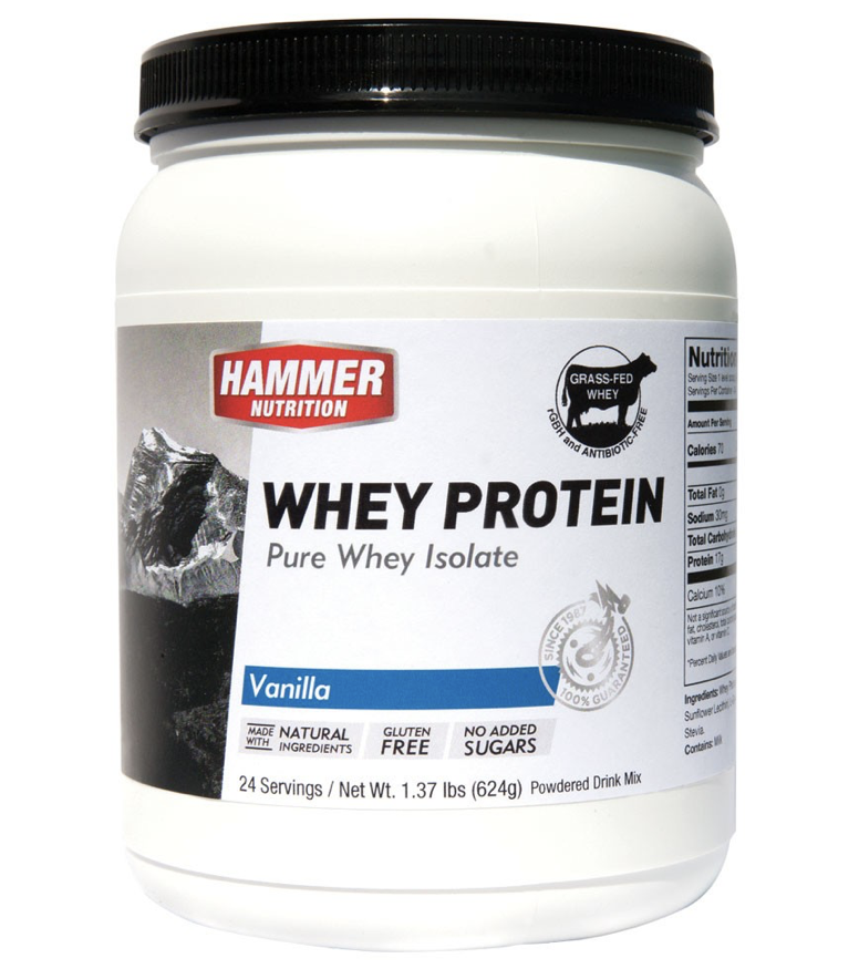 Hammer Nutrition Whey Protein  - Hammer Whey is the standard for promoting rapid recovery. For rebuilding lean muscle tissue and supporting optimal immune system function between workouts and races, whey protein has no peer. It is the most bioavailable form of protein and has the highest percentage of essential amino acids, the protein building blocks that your body does not manufacture and must obtain from dietary sources. Moreover, 25% of the essential amino acid component comes from the three most important amino acids for muscle tissue repair, the branched chain amino acids (BCAAs) leucine, isoleucine, and valine.