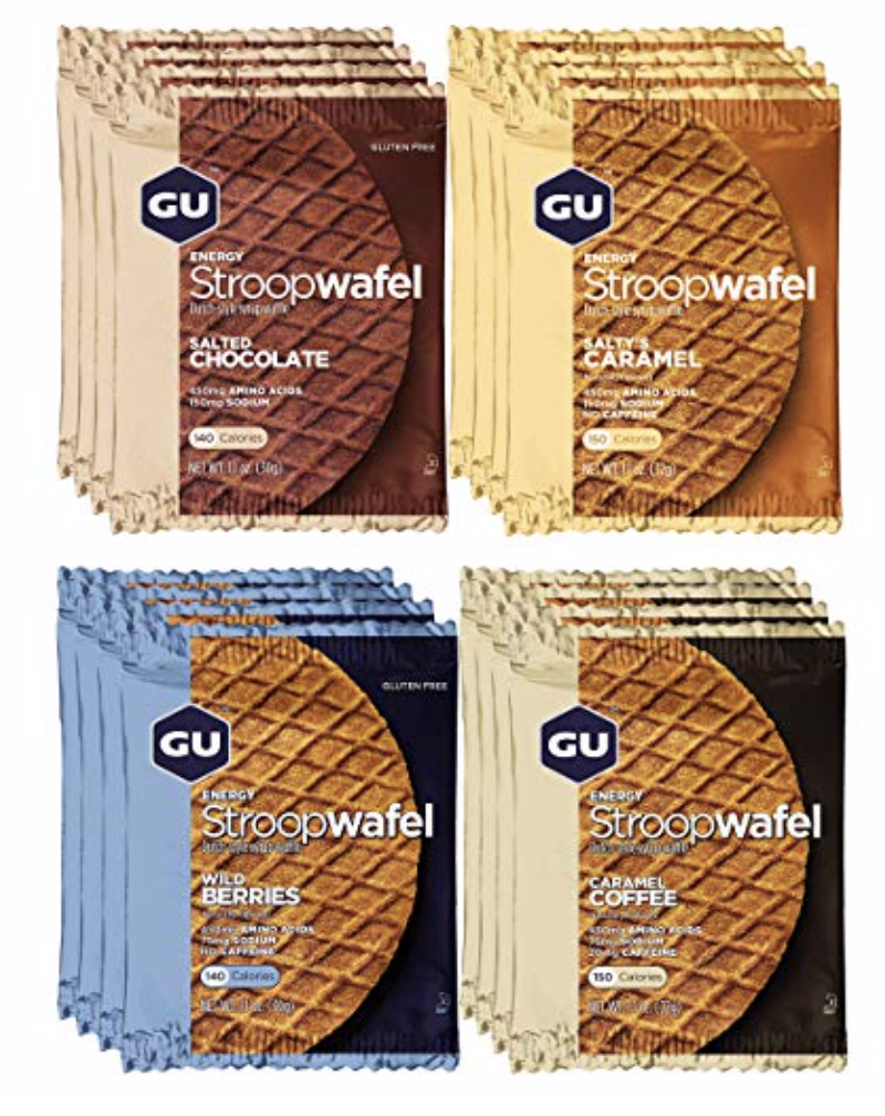 GU Energy Waffles  - Created for daily use before and during training and competition, the new GU Energy Stroopwafel delivers all the nutrients needed to power your performance: Quality carbohydrates (immediate and long-lasting energy from complex and simple carbohydrates), essential amino acids (prevent mental fatigue and repair muscle damage during long-duration activities), and electrolytes (replenish what's lost when you sweat).