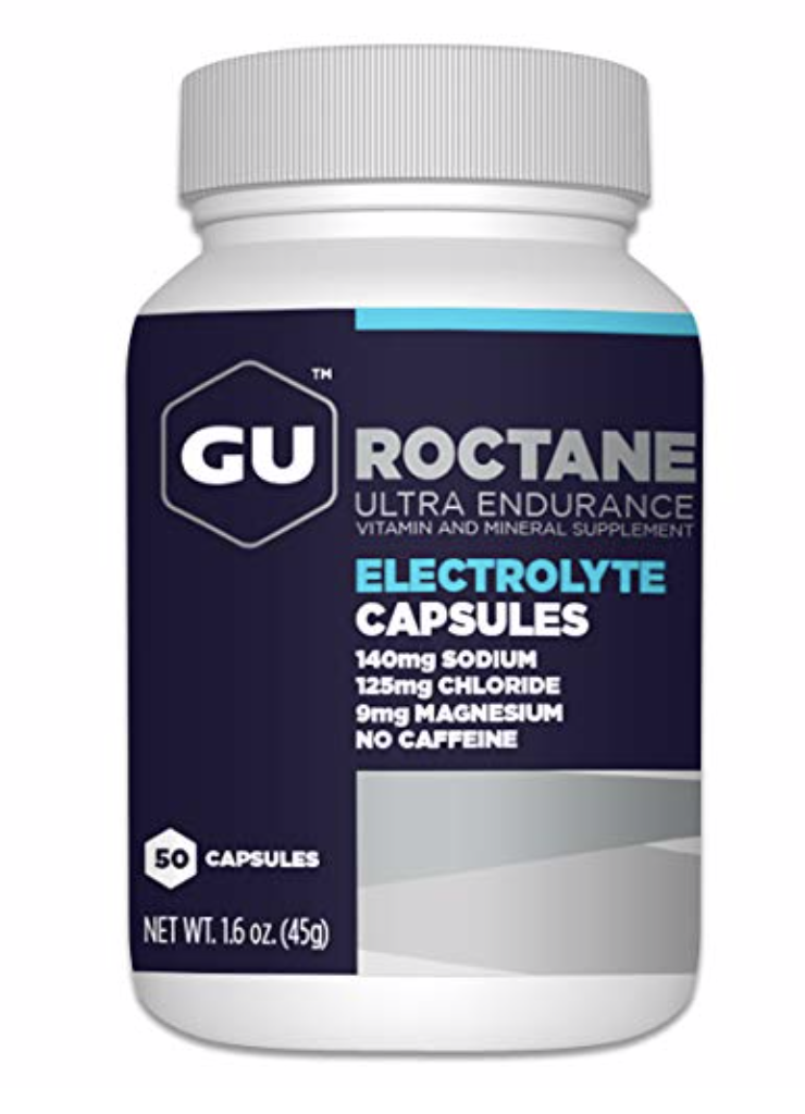 GU Roctane Electrolyte Capsules  - Created to supplement additional electrolyte replacement needs, GU Roctane Electrolyte Capsules provide added electrolyte support on top of our hydration-drink products. Each bottle includes 50 capsules that are packed with electrolytes (sodium, magnesium, chloride) to aid in hydration by maintaining water balance and plasma volume. Vitamin D is important for calcium absorption and bone health. Vitamin B6 and ginger root may help to combat nausea. Take GU Roctane Electrolyte Capsules before, during, or after exercise to replenish electrolyte levels from any energy-demanding activity resulting in sweat loss.