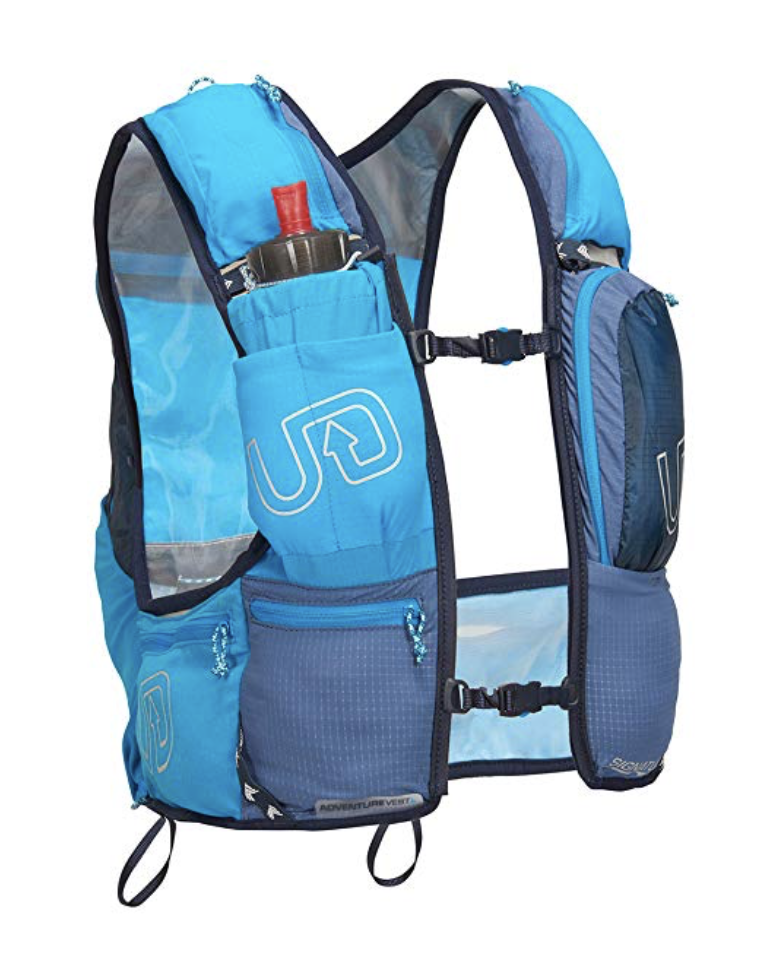 "Ultimate Direction Adventure Vest 4.0  - Featuring over 10 storage pockets to hold all your gear - 4 front pockets for bottles or phone including the beloved ""burrito"" pocket, 1 front zippered storage pocket for fuel or essentials, 2 zippered hip pockets, 2 zippered back pockets and personal locator beacon pocket for secure FKT attempts. Back compression cords keep loads from shifting and hold layers in place when on the fly."