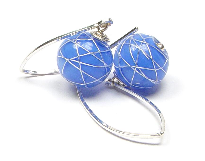 JillSymons.com Lampwork   Jenny Blu ENCASED Silver WireEarrings - $50