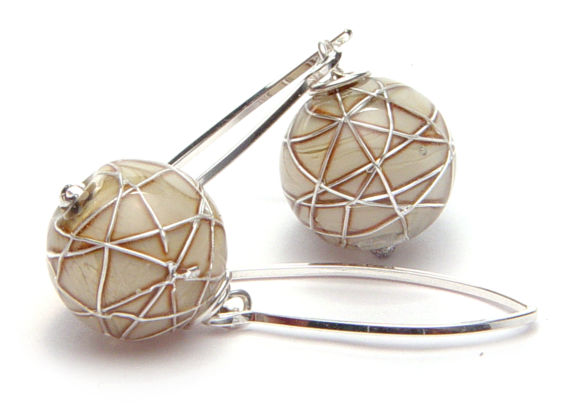 JillSymons.com Lampwork   Silver Banded ENCASED Silver WireTaupe Earrings - $55