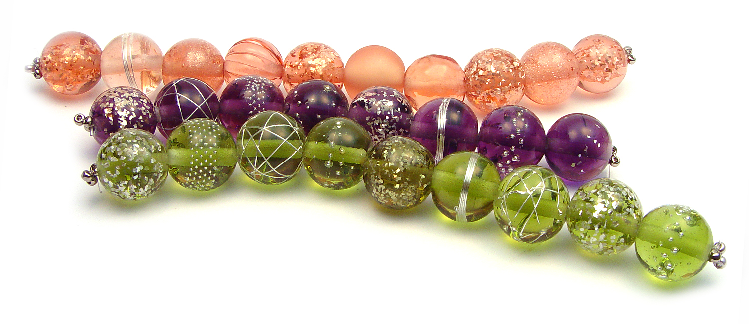 JillSymons.com Lampwork   Peach Purple and Olive (SOLD) ENCASED Silver Wire Sets