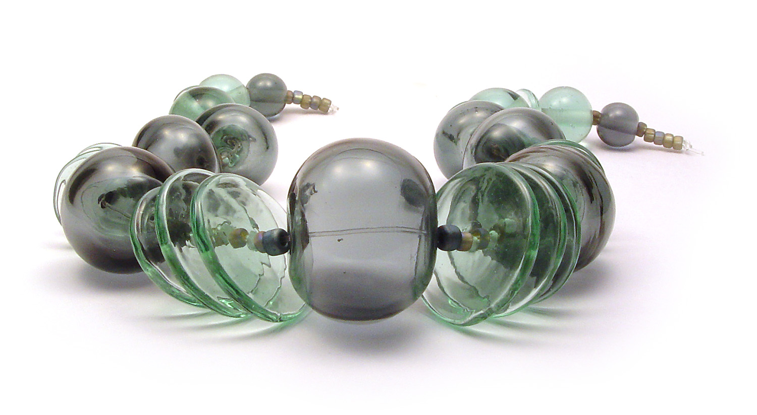 JillSymons.com Lampwork   Lt Green & Denim Hollow Set - $140