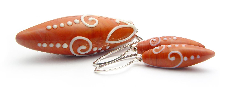 JillSymons.com Lampwork Burnt Orange (terra cotta) Scrolli Pendant - $58