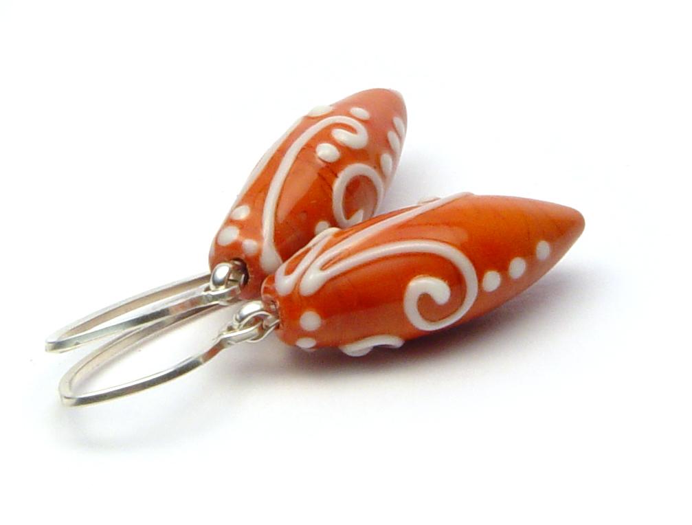 JillSymons.com Lampwork   Burnt Orange (terra cotta) Scrolli Earrings- $50 - SOLD