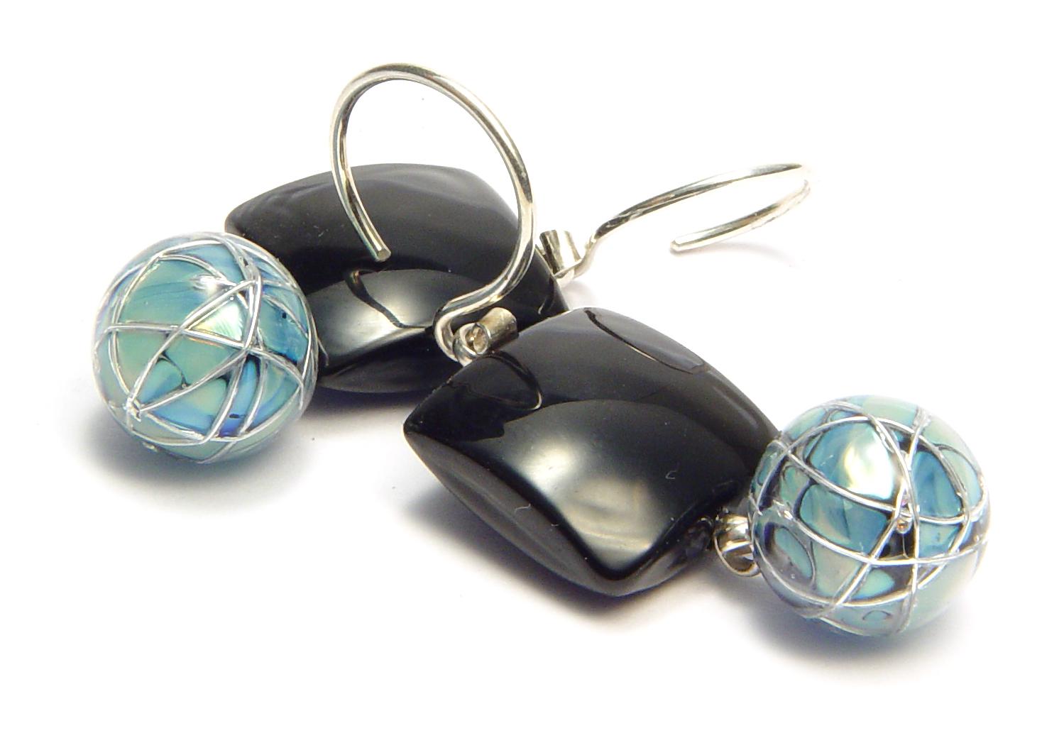 Tiled Jetstream Earrings - $55 JIllSymons.com Lampwork