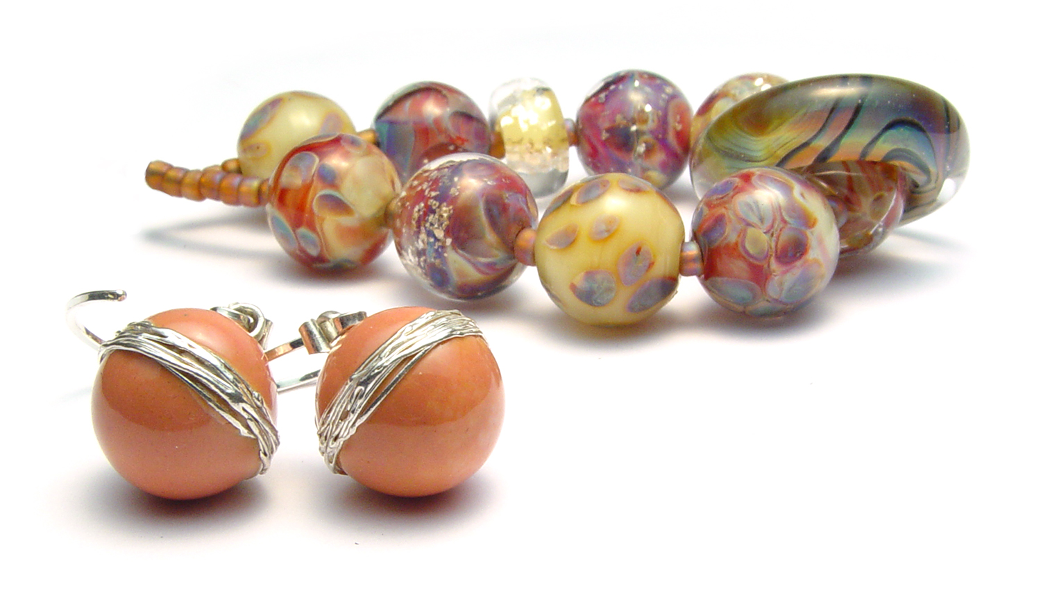 Apricot Earrings - $50 JillSymons.com Lampwork