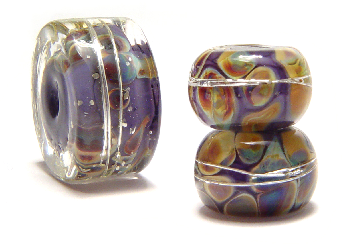 Purple Pair and Focal - $45 JillSymons.com Lampwork