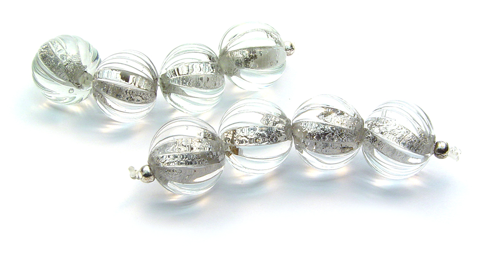 Carved Silvery Rounds - $45ea JillSymons.com Lampwork