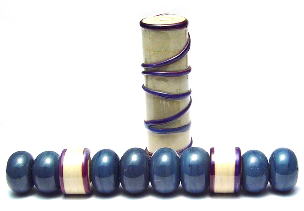 Steel Blue Focal n Bead Set - $70 JillSymons.com Lampwork
