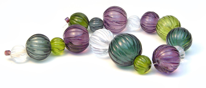 Carved Veiled Color Set - $90 JillSymons.com Lampwork