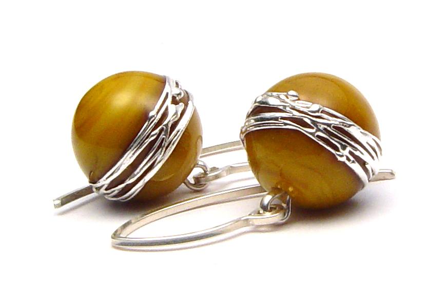 Silvered Honey Earrings - $50 JIllSymons.com Lampwork