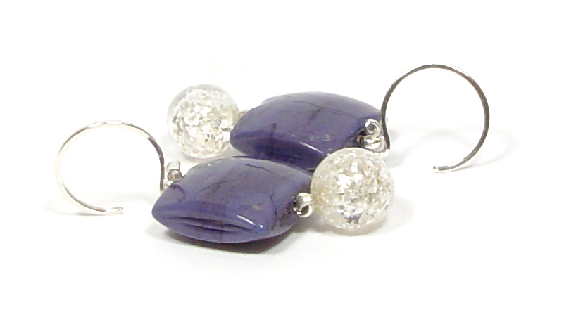 Purple Shimmer Earrings - $50 JillSymons.com Lampwork