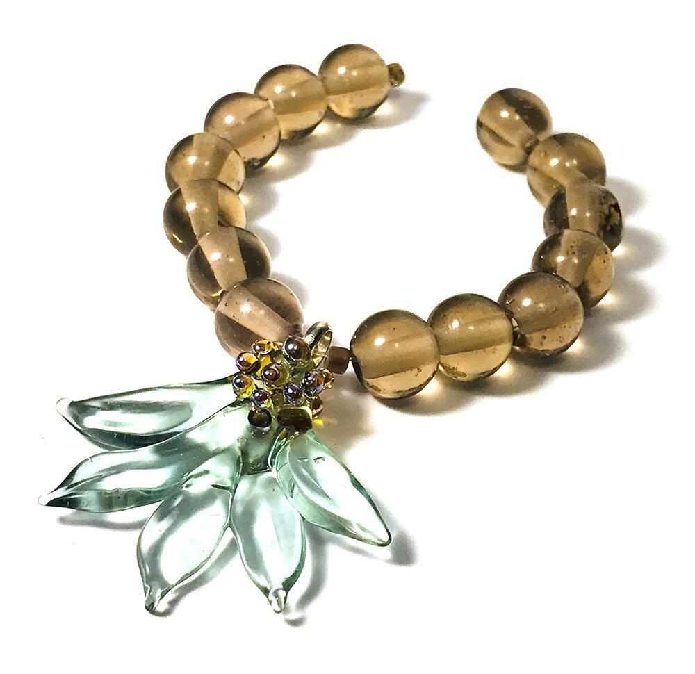 Delicate Lotus Blossom Pendant - $48 JillSymons.com Lampwork