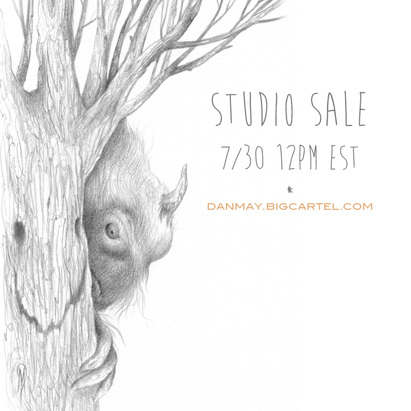 I will be having a 'Studio Sale' this Wednesday, July 30th at 12pm EST. Please visit the shop through the link below to preview the offerings. Thanks for having a look!     http://danmay.bigcartel.com/