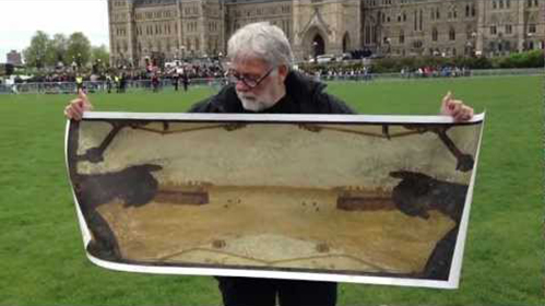 Allan Mackay displays a work he later destroyed on Parliament Hill