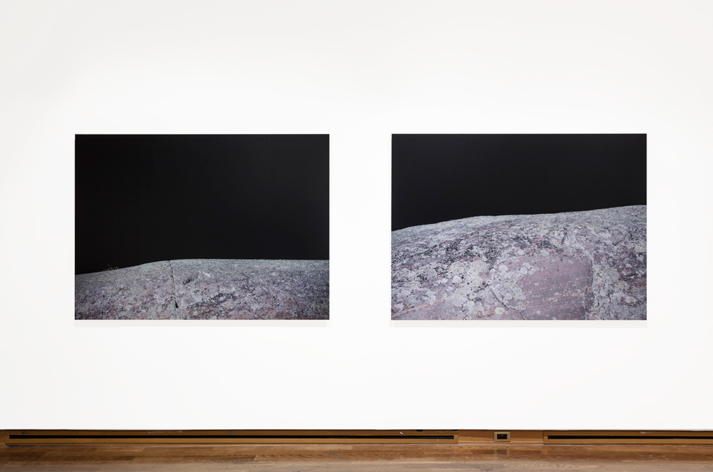 Untitled Photograph # 1 (Fissure) & Untitled Photograph #2 (Lichen), Digital Chromogenic print, mounted on Dibond, 50 x 67 inches each , 2013. Edition of 5.  Photo credit: Toni Hafkenscheid.