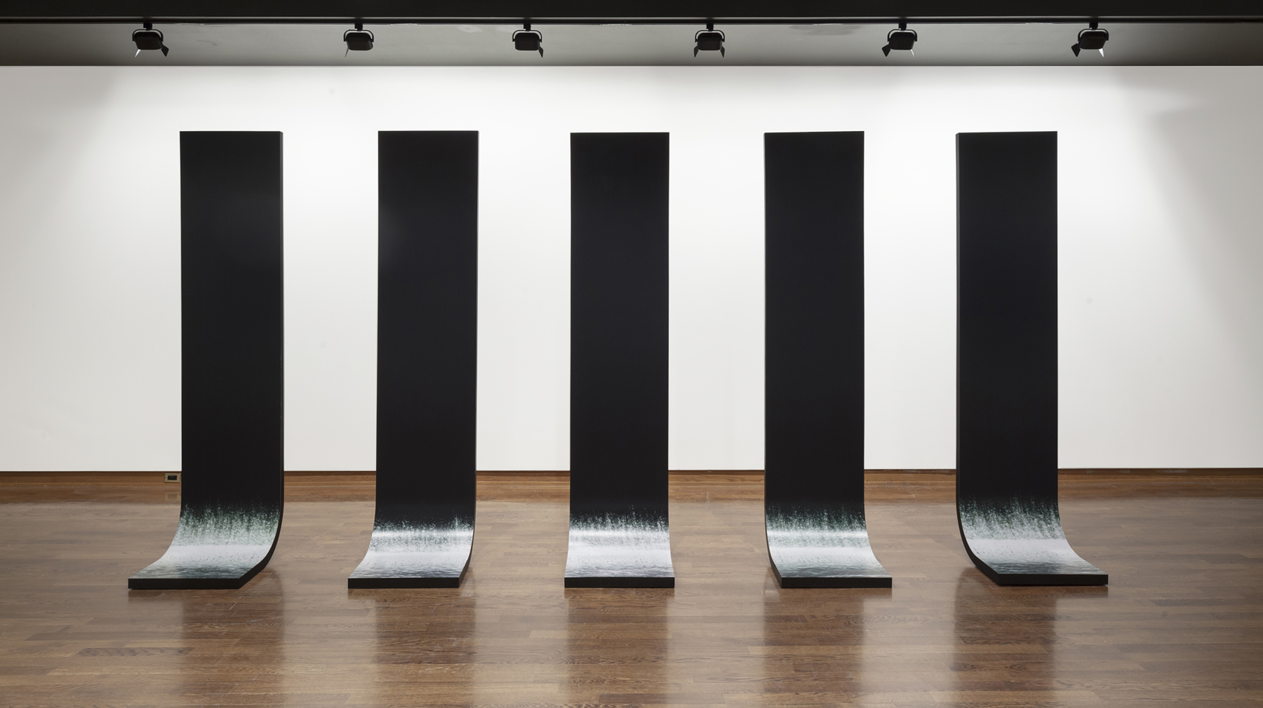 Still Water, 2009, 5 Sculptural Elements, Laminated Plywood, Lambda Prints (227cm x 61cm x 46cm each) Photo: Toni Hafkenscheid