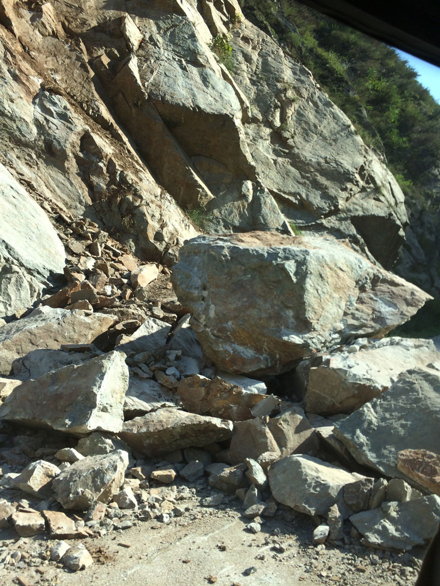 The rock slide that blocked our path