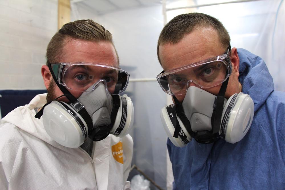 Brendan de Montigny, left, and Andrew Wright in Wright's studio in south Ottawa. (Photo by Peter Simpson, Ottawa Citizen)