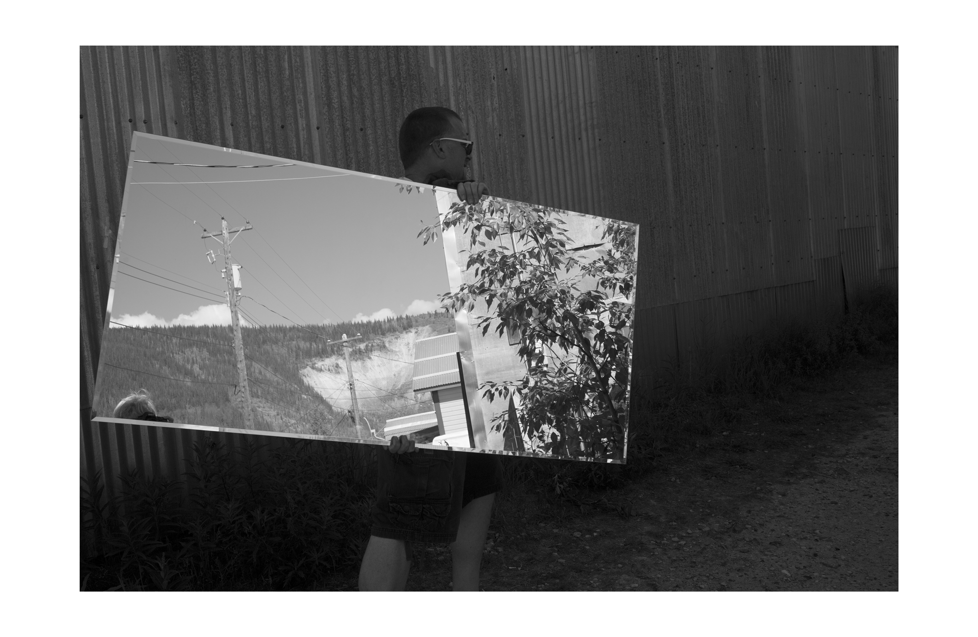 Dawson Looking Glass 10, 2015, documentation of performance (photographic print, 40 x 26 inches, edition of 5, 1 artist proof)