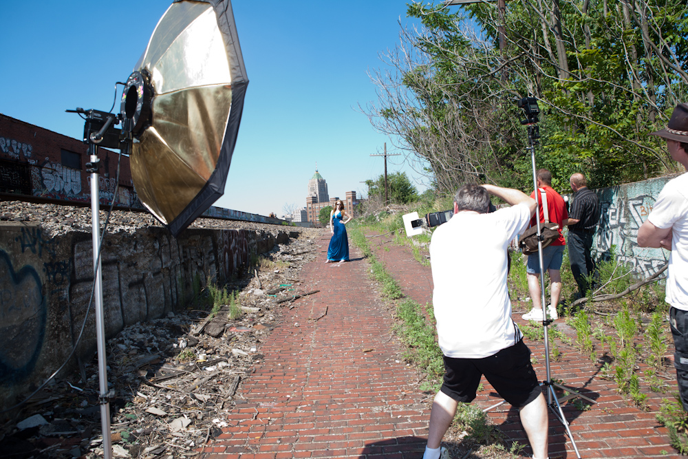 Ed Photographing on one of our urban shoots in Detroit.