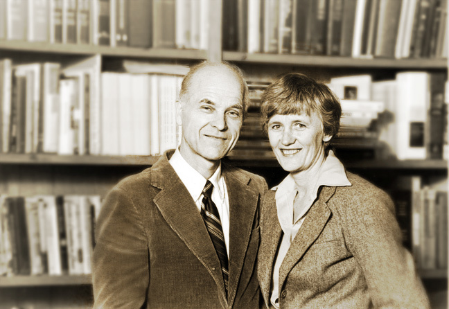 Ralph and Roberta Winter in his office at the Fuller School of World Mission, Pasadena, CA - c. 1971.