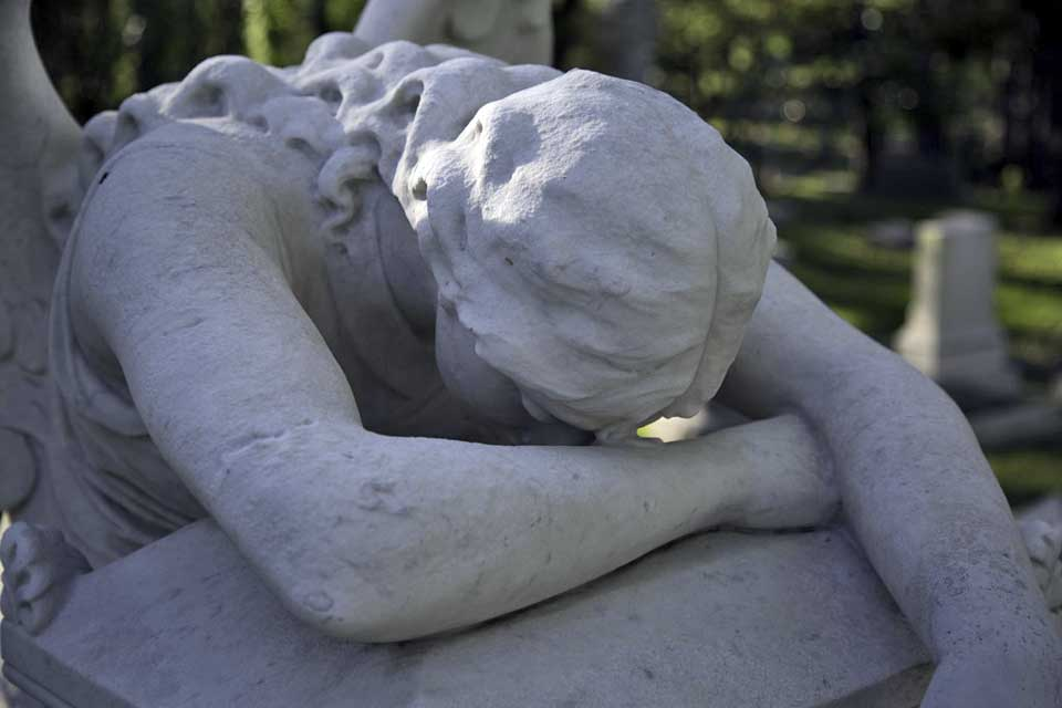 This is the Angel of Grief monument in the Hill family plot in Glenwood Cemetery in Houston, Tx. It is a beautiful monument and poignantly expresses the grief of losing a loved one all too soon.