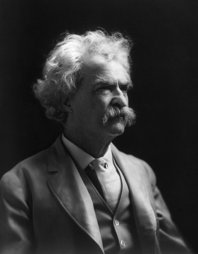 Mark Twain in his later years. Photographed by A.F. Bradley