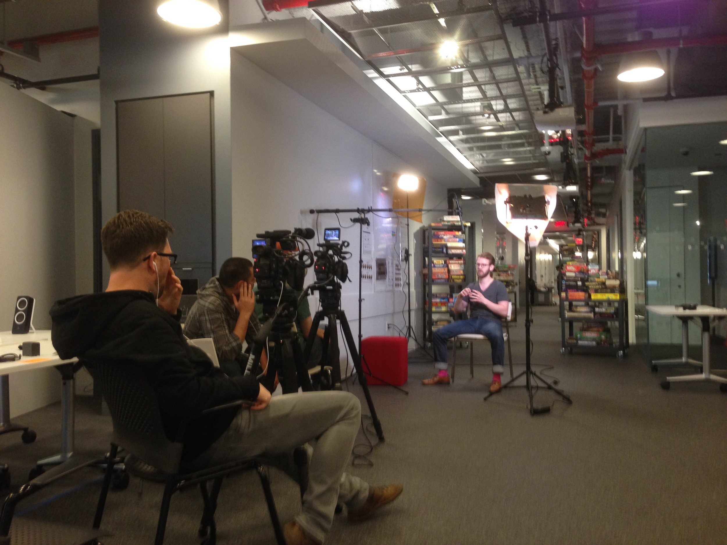 Interview setup at NYU Game Center.