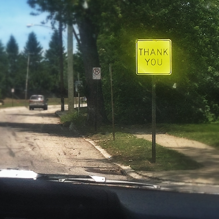 Gratitude from an official sign on a random street corner in Manchester New Hampshire.