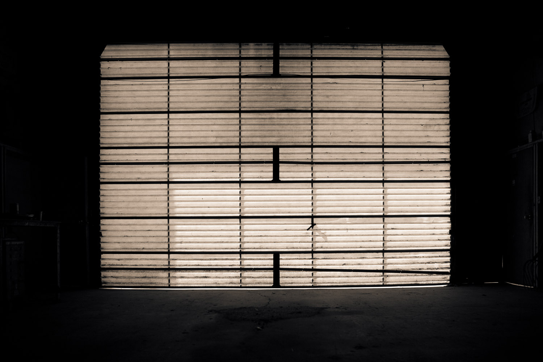 glowing garage door