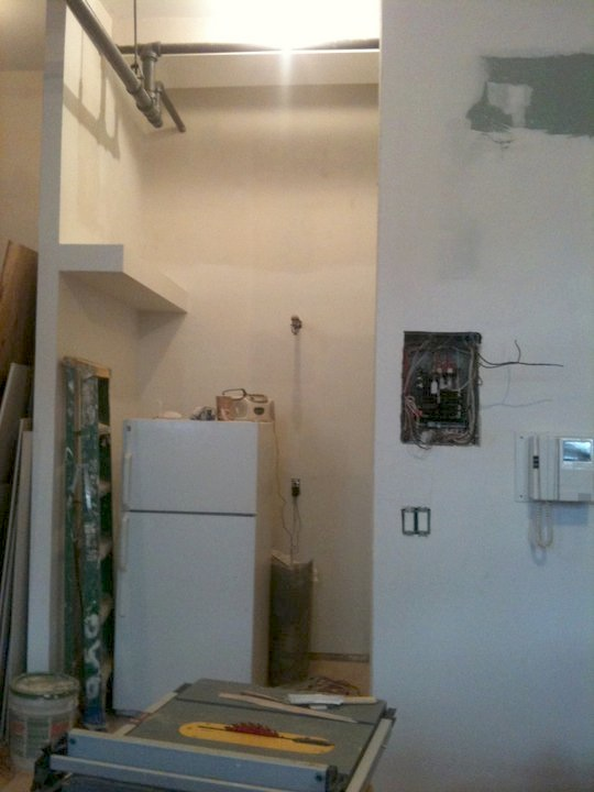 another stellar iPhone shot.  you can see the wall got extended up - it is hiding the loft storage area.