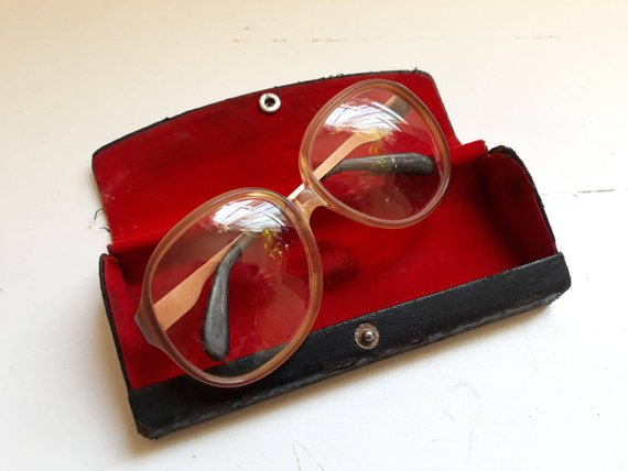 Spectacles in red velvet case , Etsy, $22