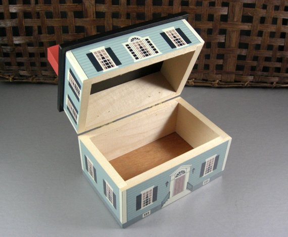 Wooden house box , Etsy, $16