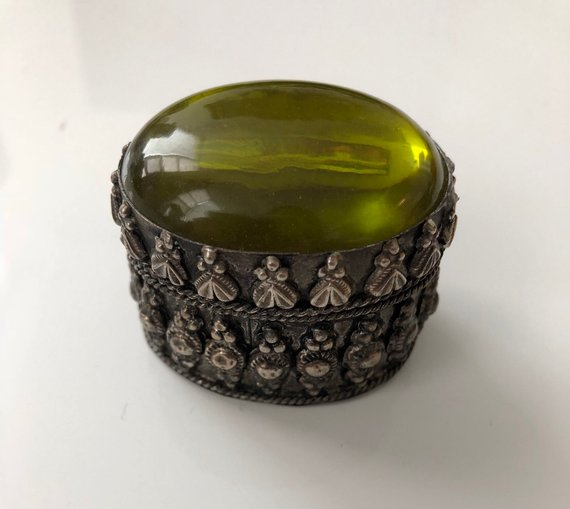 Fancy metal pill box , Etsy, $22