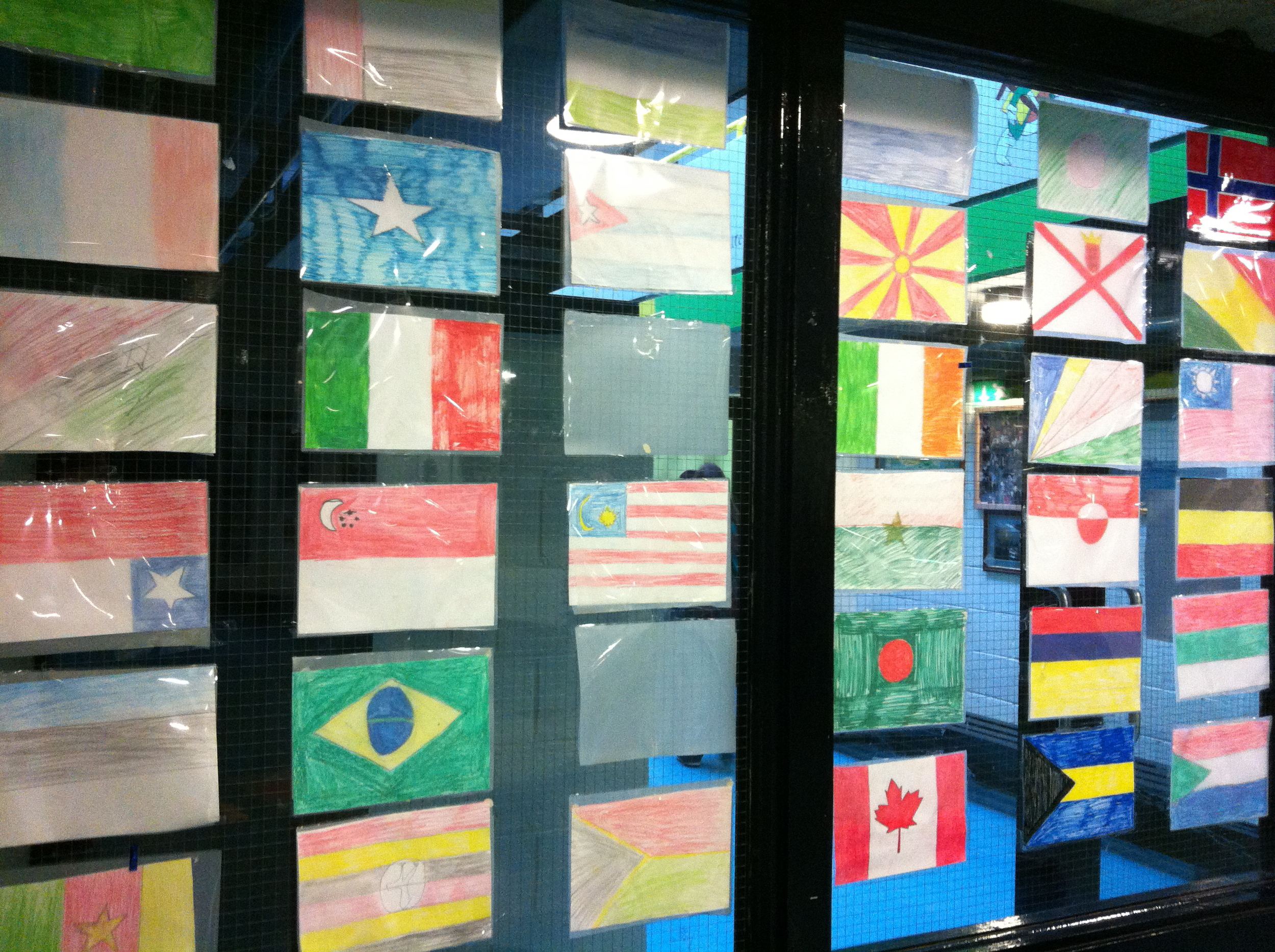 Just some of the international flags in our school foyer