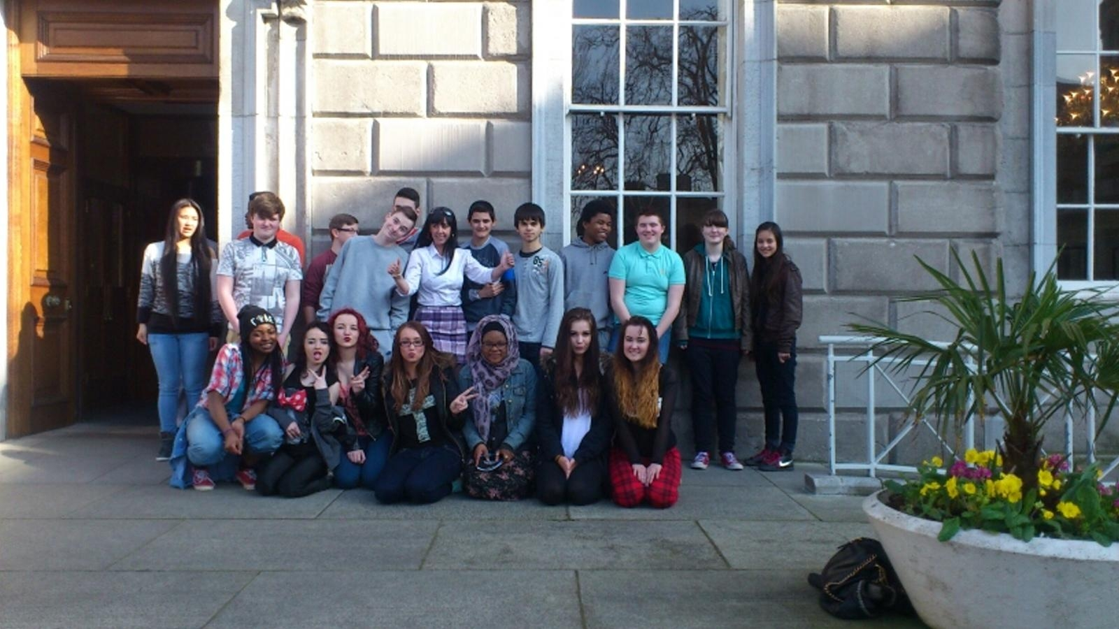 2nd & 3rd year students with Ms. Hughes at Leinster House