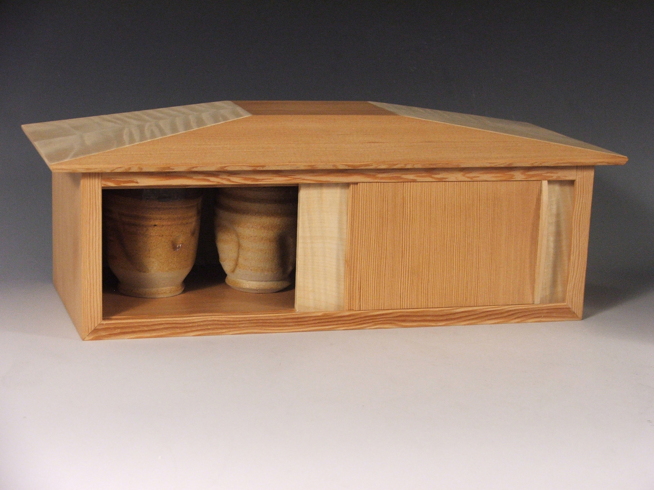 "​House of Cups,  2009   16"" x 6"" x 7 1/2""​  Douglas Fir, Curly Maple Veneer, Cone 10 Stoneware, Ash Glazes​"