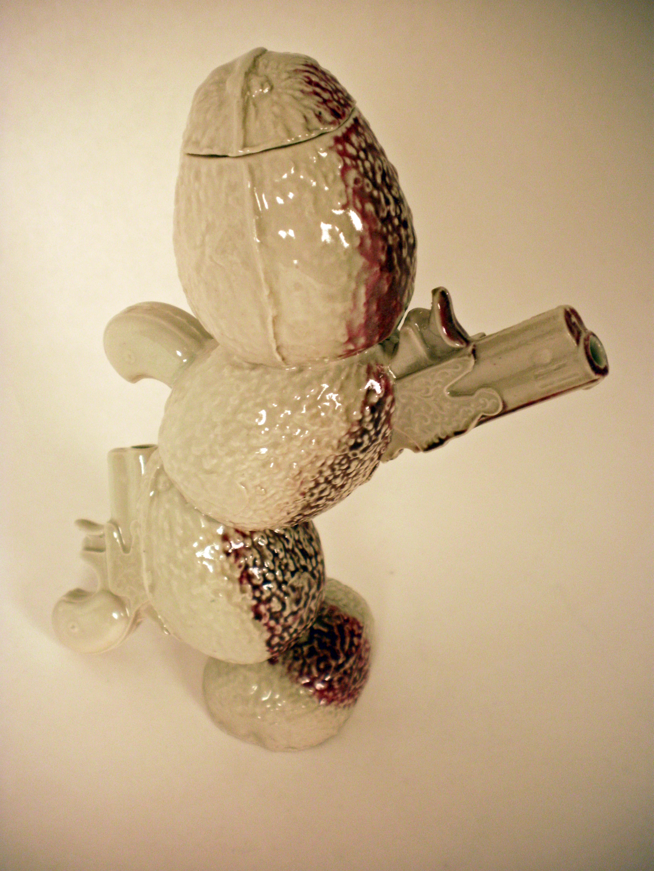"TijuanaTea-pot,  2010   11"" x 4"" x 6""  Cone 10 Porcelain"