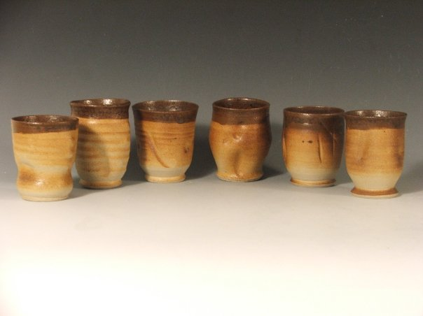 "Cups of the House,  2009   16"" x 6"" x 7 1/2""​  Douglas Fir, Curly Maple Veneer, Cone 10 Stoneware, Ash Glazes​"