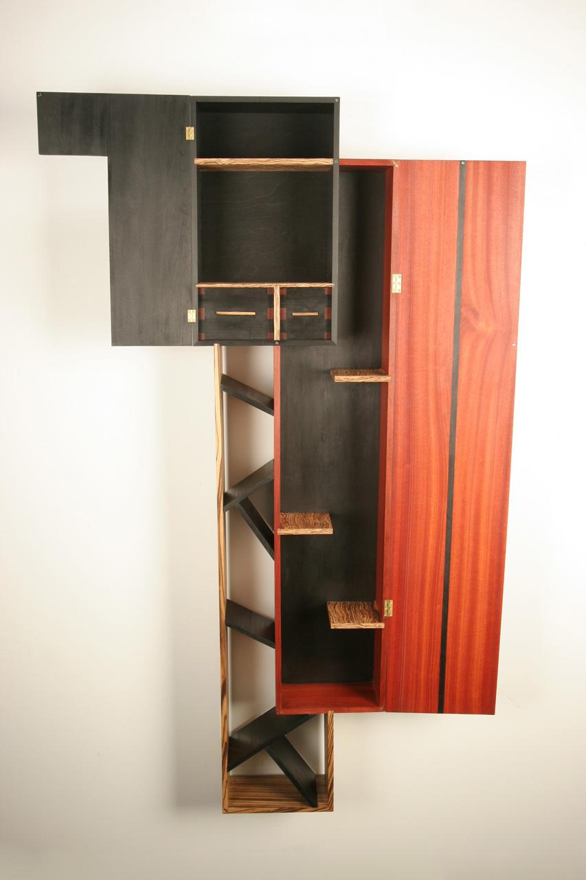Wine Cabinet , 2008   18'' x 8'' x 63''  Bloodwood, Zebrawood, Leather Dyed Poplar, Curly Zebrawood veneer