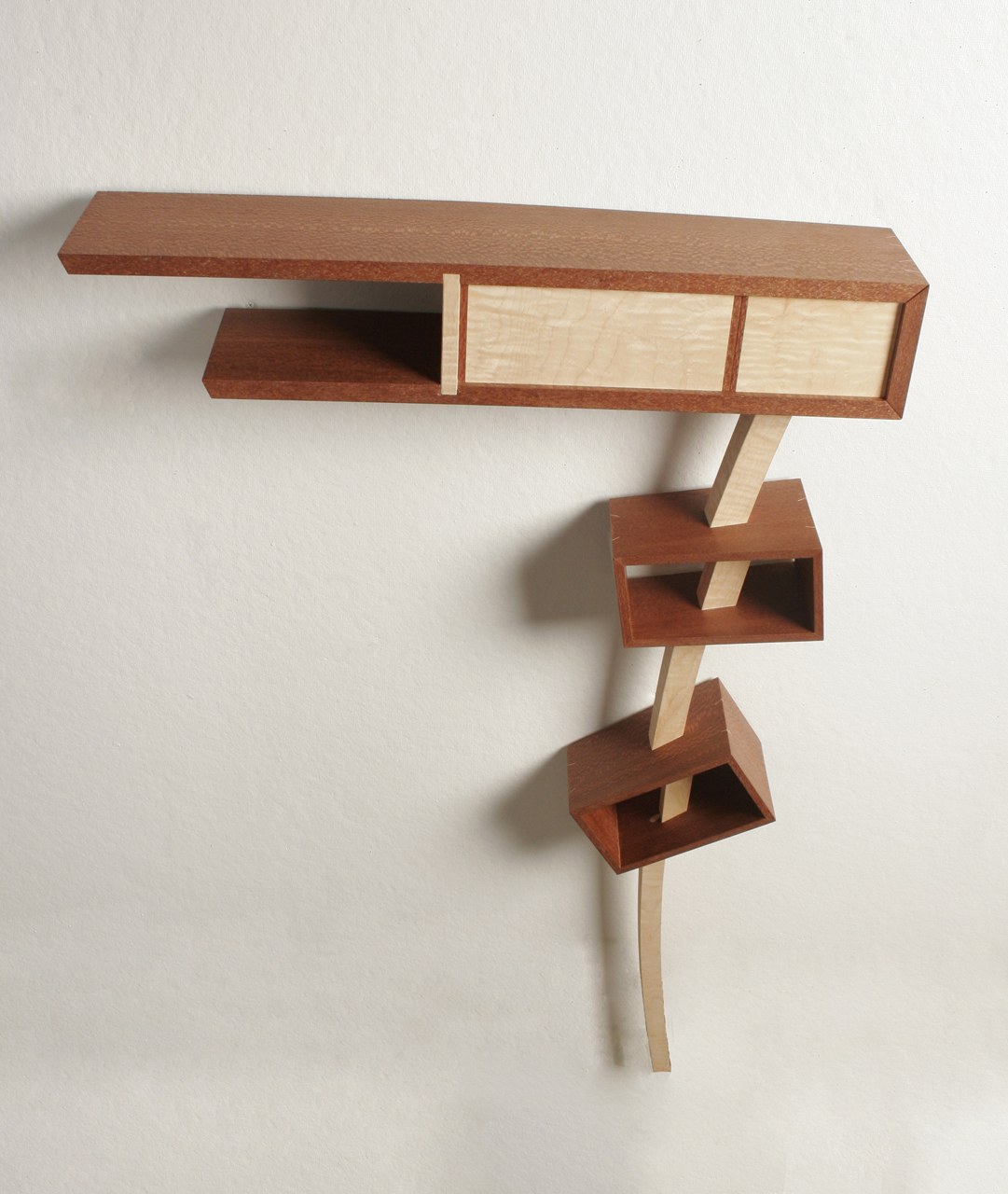 "Leg A or B,  2009     27 ½"" x 6"" x 40""    Leopard wood, Curly Maple veneer, Poplar"