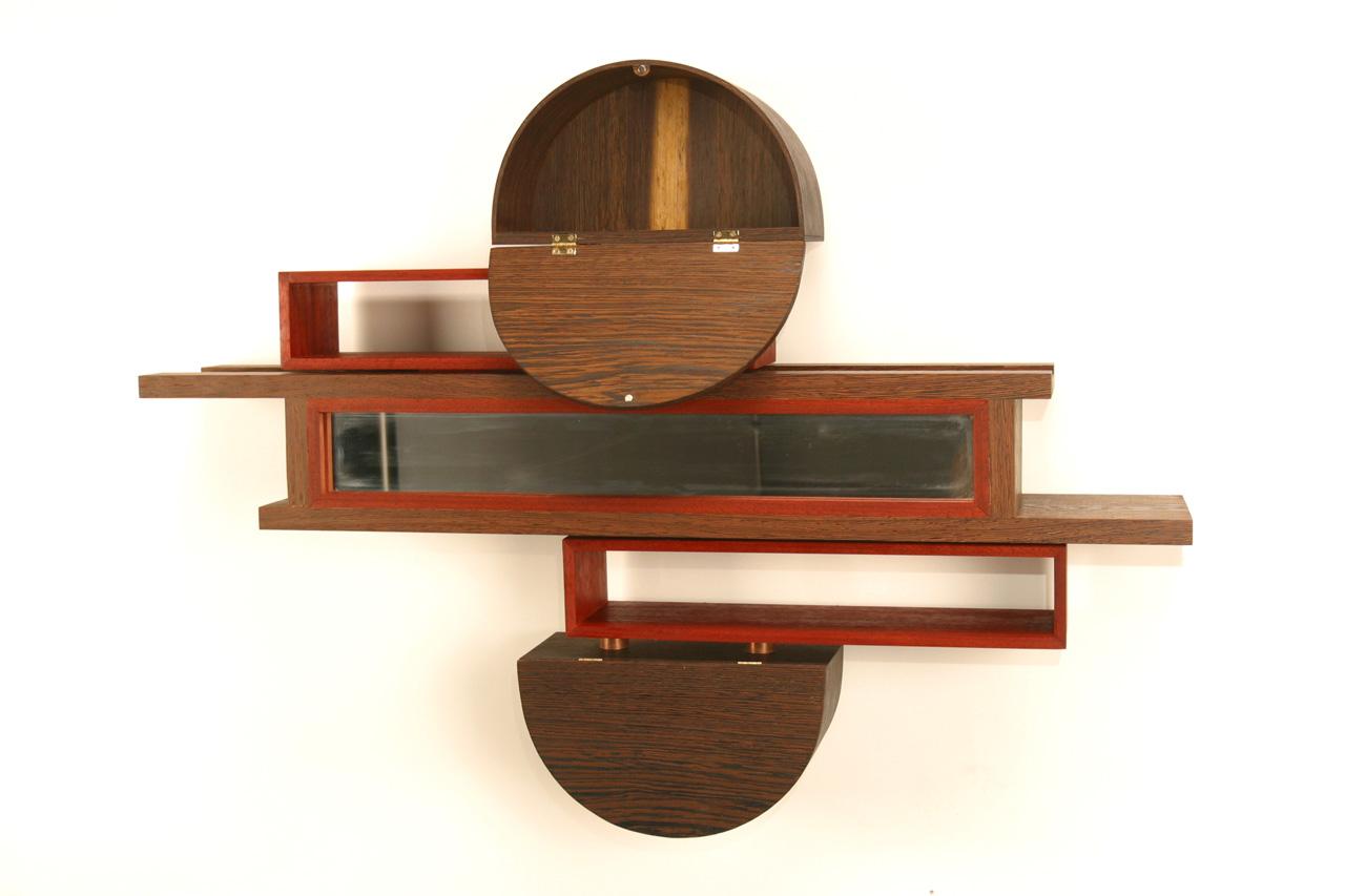 Sliding Dovetail Mirror/Cabinet,  2007     36'' x 6'' x 24'' Wenge, Paduak, Wenge Veneer