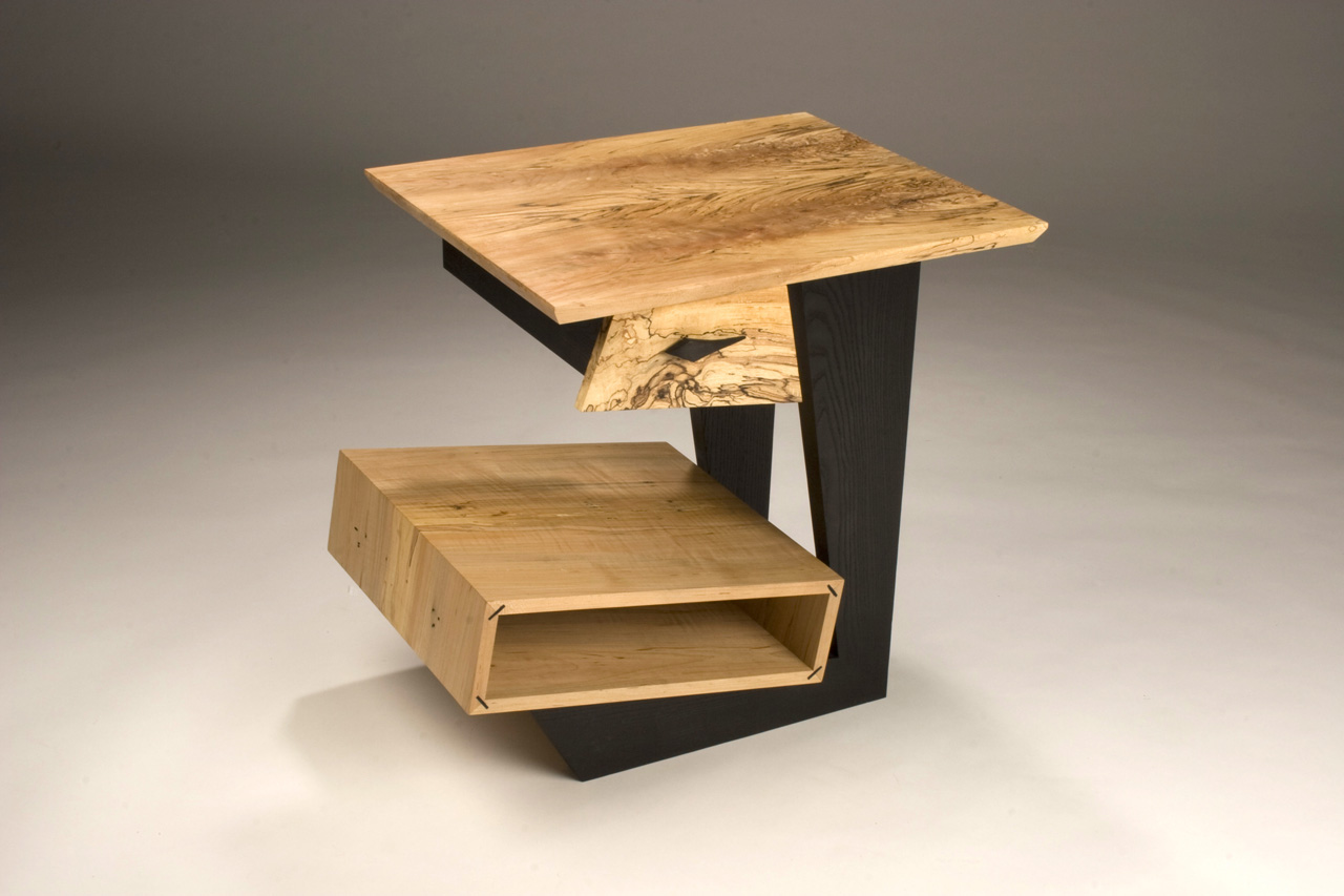 Spalted Maple End Table,  2008     23'' x 19'' x 23 ½'' Leather dyed Ash, Spalted Maple