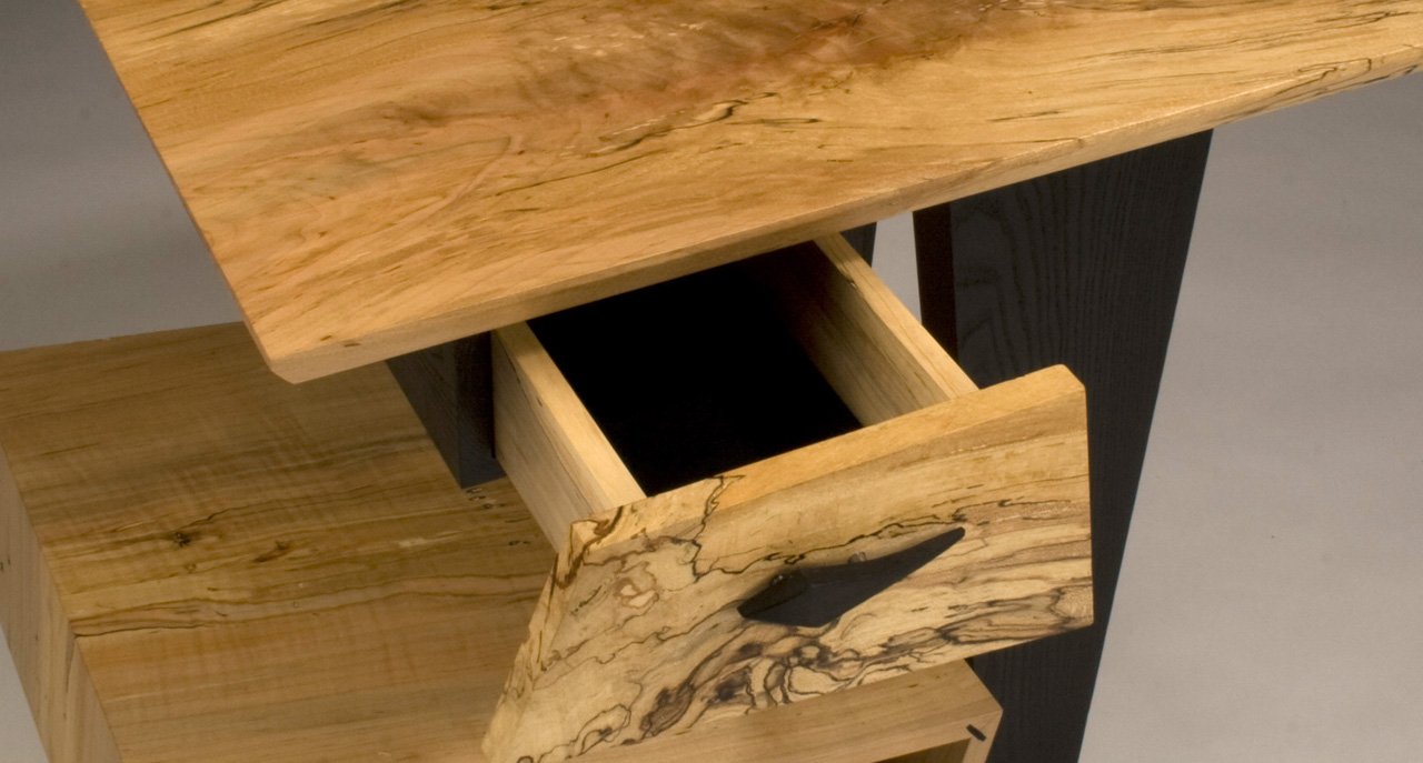 Spalted Maple End Table (Detail),  2008     23'' x 19'' x 23 ½'' Leather dyed Ash, Spalted Maple